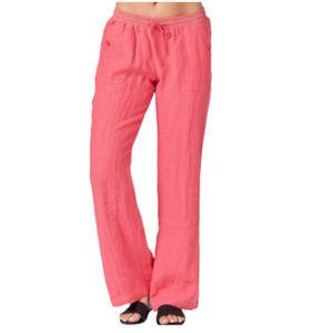 Mariyaab Women's Coral Wide Leg Linen Pants - 10